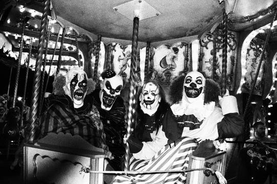"""Among the mazes at Kentucky Kingdom's HalloScream is (creepy clown alert!) """"Die Laughing – A Clown Funeral."""""""